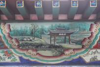 房梁彩绘画西湖龙井茶