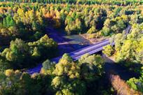 林海河流桥梁(航拍)