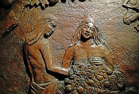 浮雕壁画:远古人类