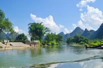蓝天白云山水风景图片