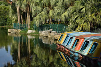 公园湖泊上的游乐船