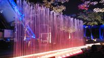 彩色灯光喷泉夜景