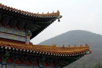 旅游胜地白云观寺庙建筑一角