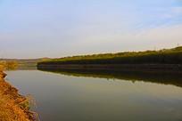 堤岸垂柳与倒影