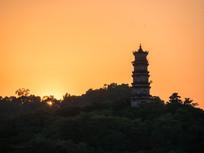 黄昏的泗洲塔风光
