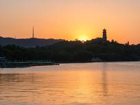 惠州西湖的落日景色
