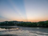 惠州西湖的霞光景色