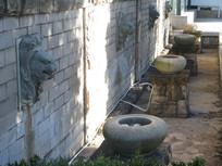石狮与水钵喷泉装饰