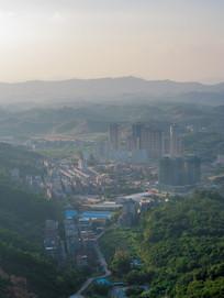 鸟瞰惠州高榜山脚下建筑