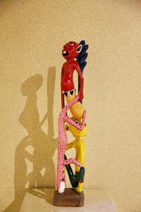 非洲木雕彩色精灵人