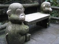可爱的猴子石凳