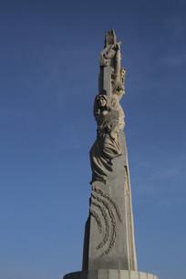 青春少女雕像柱