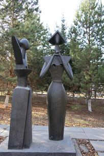 铜雕春天少女雕像