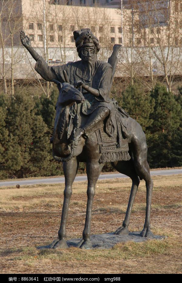铜雕骑骆驼的老人高清图片下载 红动网