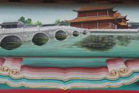 彩色色房梁画皇城前的护城河
