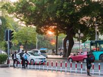 马路边等绿灯的人