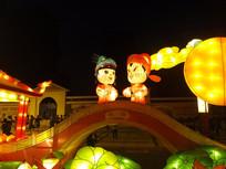 鹊桥上的牛郎织女花灯