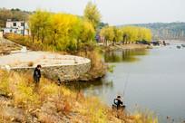 水库堤岸秋天风景