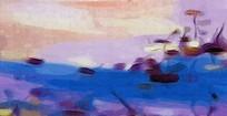意境荷花抽象油画