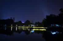 湖边的亭子古建筑灯光夜景