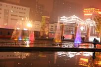 大雁塔广场喷泉夜景