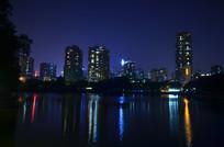 高楼大厦江河夜景