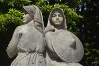 石雕象征珠江三角洲的两位少女