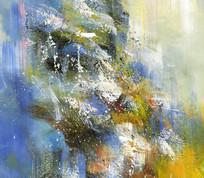 蓝色调抽象画