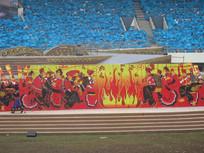 彝族火把节背景与蓝色的观众席