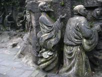 两位高僧雕刻