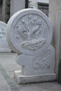 莲花鸟植物浮雕
