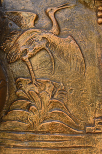 仙鹤浮雕铜雕