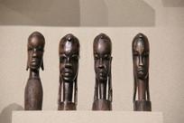 非洲木雕长耳少女头像