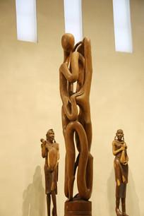 非洲木雕雕拥抱