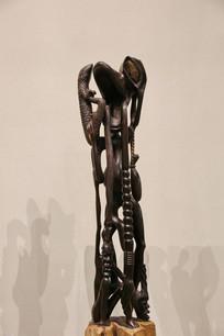 非洲木雕老老人像