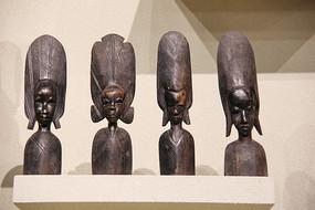 非洲木雕盛装非洲妇女半身像