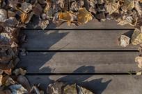 落叶边框木质板面背景素材