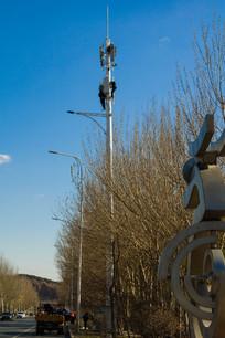 安装信号发射塔
