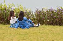 坐在草地上的人物背影