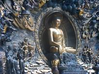 精美的佛像与周围的飞天浮雕