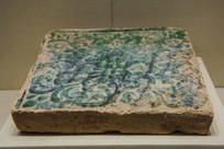 西夏文物绿琉璃花纹方砖
