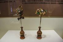 西夏文物彩绘木雕花瓶