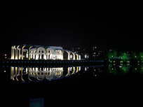 城市夜景简约建筑摄影图