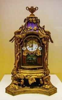 英国制清铜镀金漆楼转人圆式钟