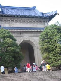 中山纪念堂外的松柏树