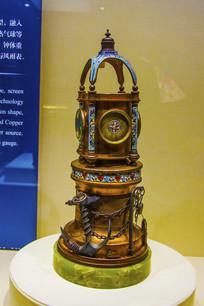 法国造嵌珐琅灯塔式寒暑表座钟
