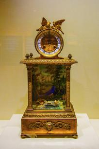 法国造清铜镀金鸟音座钟