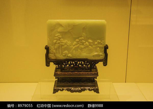 清青玉浮雕人物故事插屏图片