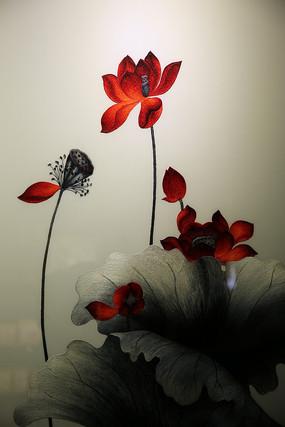 越南手工刺绣莲花