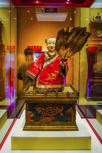 中国制造清象牙雕扇扇人